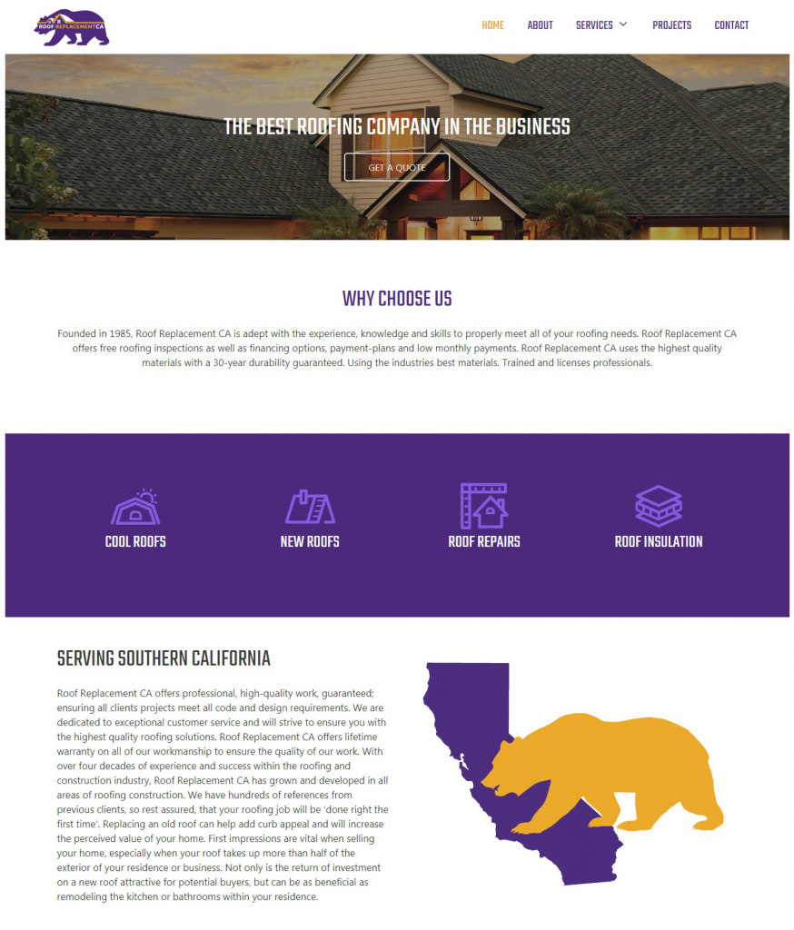 Roof Replacement CA Website Homepage